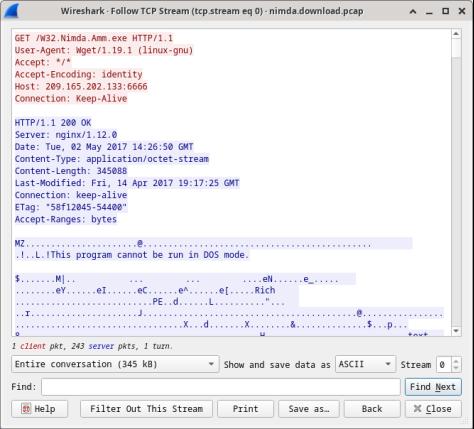 Screenshot shows the Follow TCP Stream window.