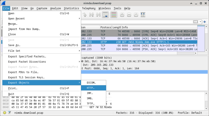 Screenshot shows nimda.download.pcap file with fourth packet highlighted and Export Objects and HTTP selected.