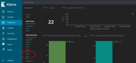 Screenshot of logs filtered for http in june 2020
