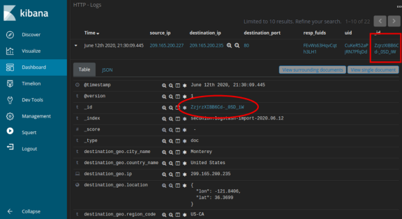 screenshot of one http log expanded with alert _id highlighted
