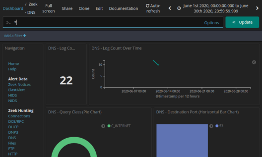 screenshot of dashboard filtered for DNS