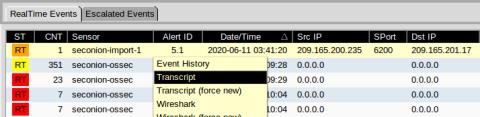 screenshot shows the location of transcript