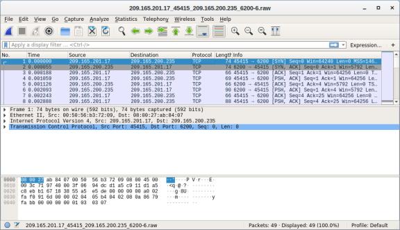screenshot of wireshark associated for the alert