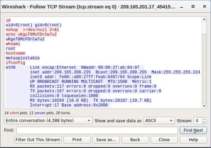 screeshot of tcp stream output