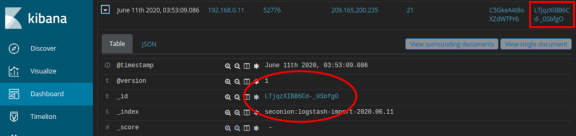 screenshot of log entry with alert _id link highlighted