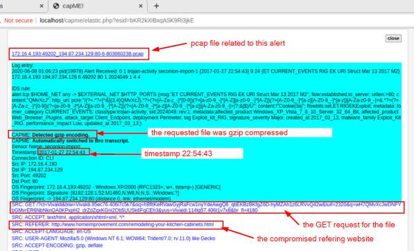 screenshot of transcript for the first NIDS alert.