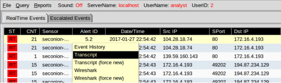 screenshot of sguil alert id 5.2 highlighted