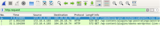 screenshot of wireshark with the first entry highlighted and http.request filtered