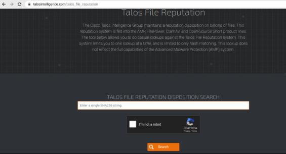 screenshot of talos intelligence