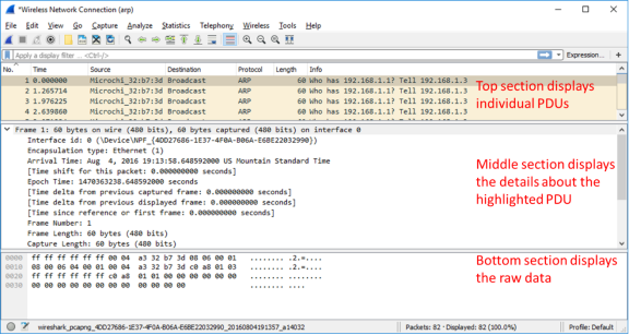 This screenshot displays the different captured Wireshark data in three sections. 1) individual PDUs, 2) details on highlighted PDU 3) raw data on the highlighted PDU