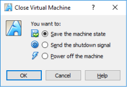 Screen shot of Virtual Box Close Virtual Machine with the Save the machine state selected