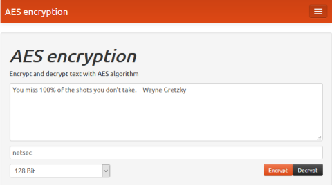 Screenshot of the AES encryption window with netsec as the secret key.