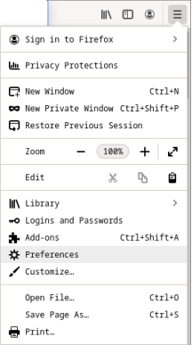 Screenshot of the Firefox browser showing the Menu icon on the far right of the window.